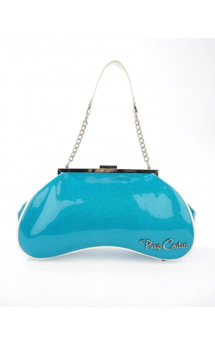Pinup Couture- Amoeba Handbag in Turquoise Glitter and White Vinyl Trim | Pinup Girl Clothing