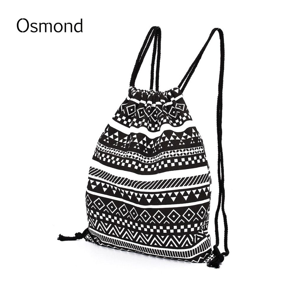 2017 Women Aztec Canvas Drawstring Backpack Gypsy Vintage College ...