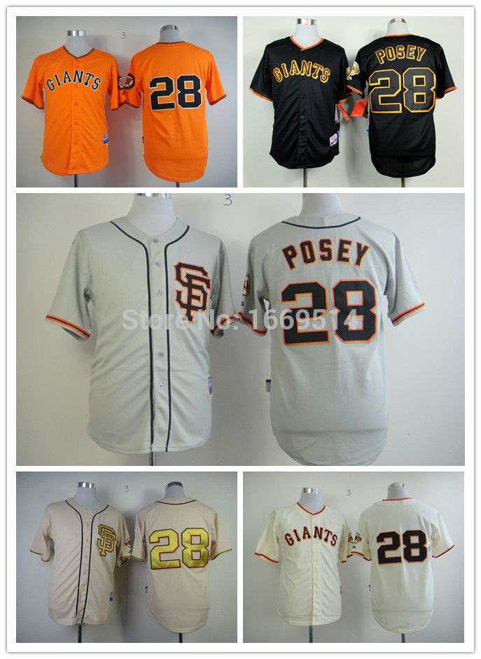 San Francisco Giants Jersey 28 Buster Posey Jersey black Cream ...