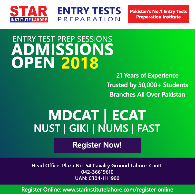 Entry Test Preparation  Star Institute Lahore, Pakistan  Star