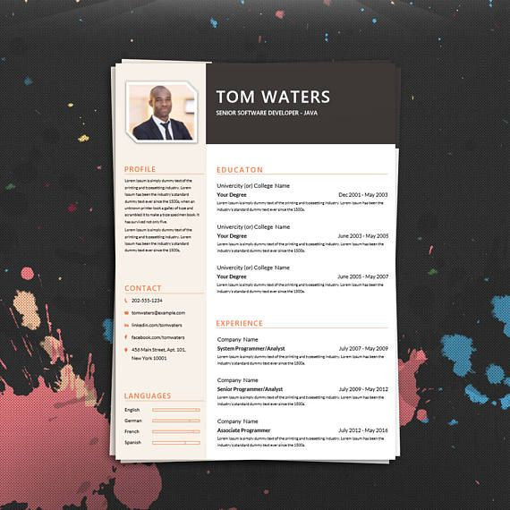 Professional Creative Resume Template Cover Letter for MS Word