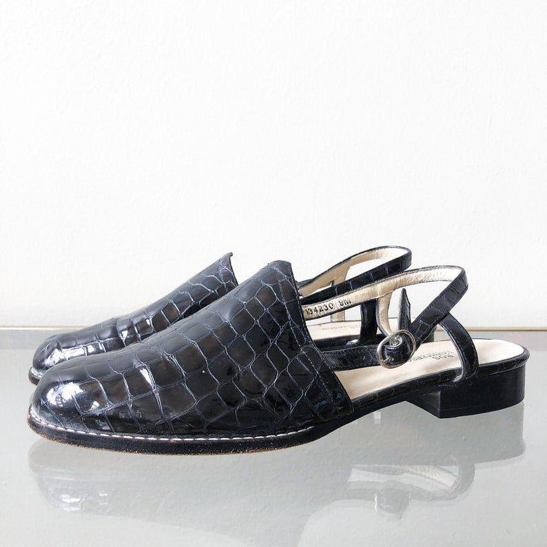 Slingback sandal, Black patent leather