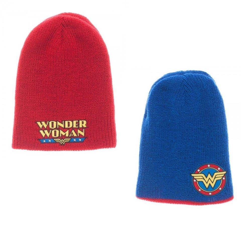 644fd56fefc Wonder Woman Reversible Knit Slouch Beanie Hat Cap DC Comics Red Blue Hero  NEW  Bioworld  SlouchBeanie