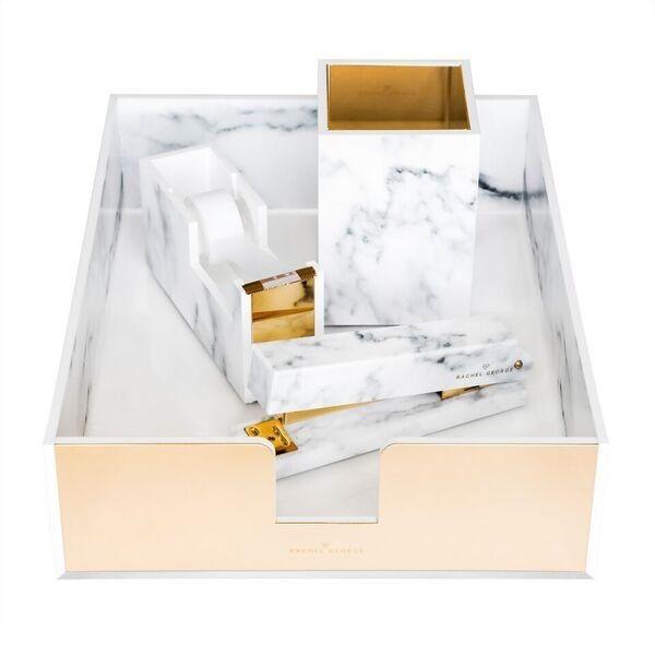 Rachel george acrylic marble desk set acrylic marble - Acrylic desk organizer set ...