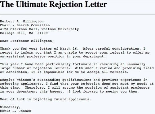 Best Rejection Letter  Humor    Sarcasm Laughter And