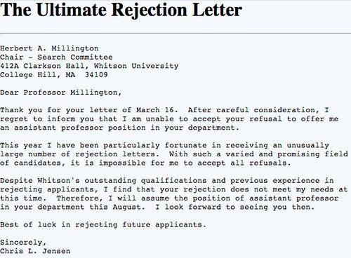 Best rejection letter Humor Pinterest Sarcasm, Laughter and - rejection letter