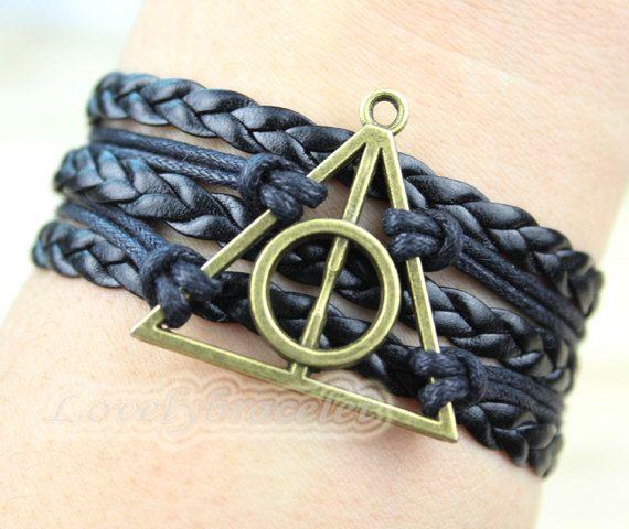 Harry potter bracelet imitation leather woven by lovelybracelet, $4.99