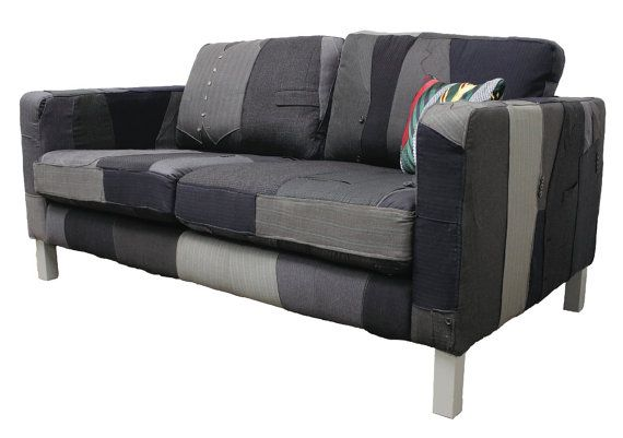 Suit Couch Repurposed Thrift Suits Eco Friendly Sofa Upholstered Loveseat Upcycled Furniture