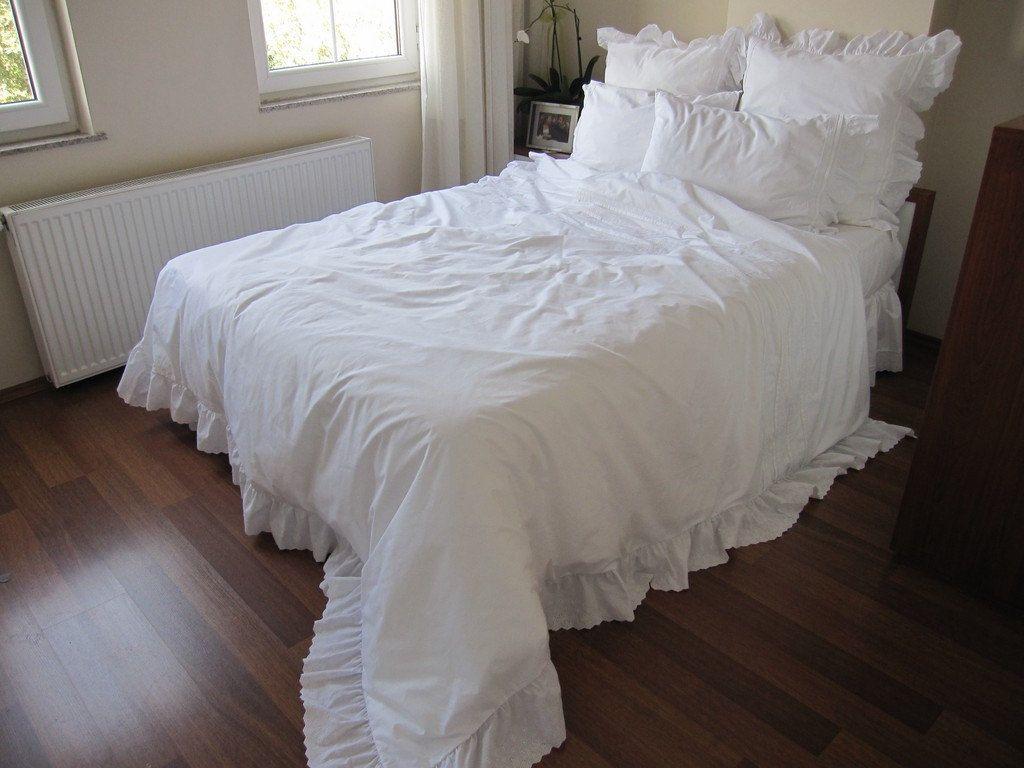 QUEEN Duvet Cover White On Cotton Eyelet Ruffle Around ELEGANT Shabby Chic Rufffle Bedding