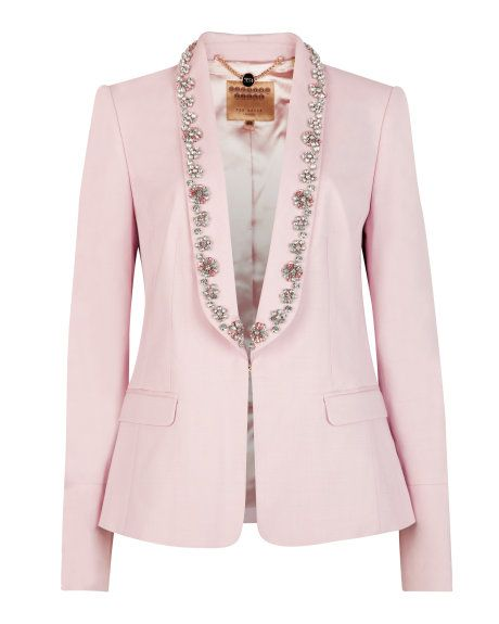 55f2bfab2 Pastel embellished suit jacket - Nude Pink