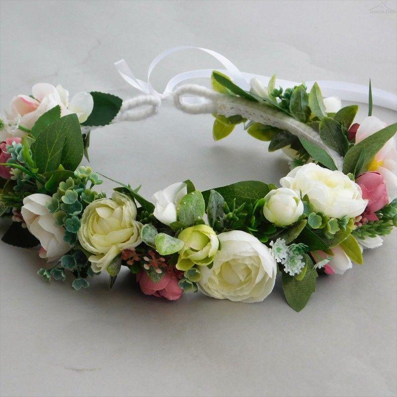 Wianek Slubny Pastelowy Rustykalny Wianek Na Glowe Ozdoba Na Wlosy Floral Wreath Floral Wreaths