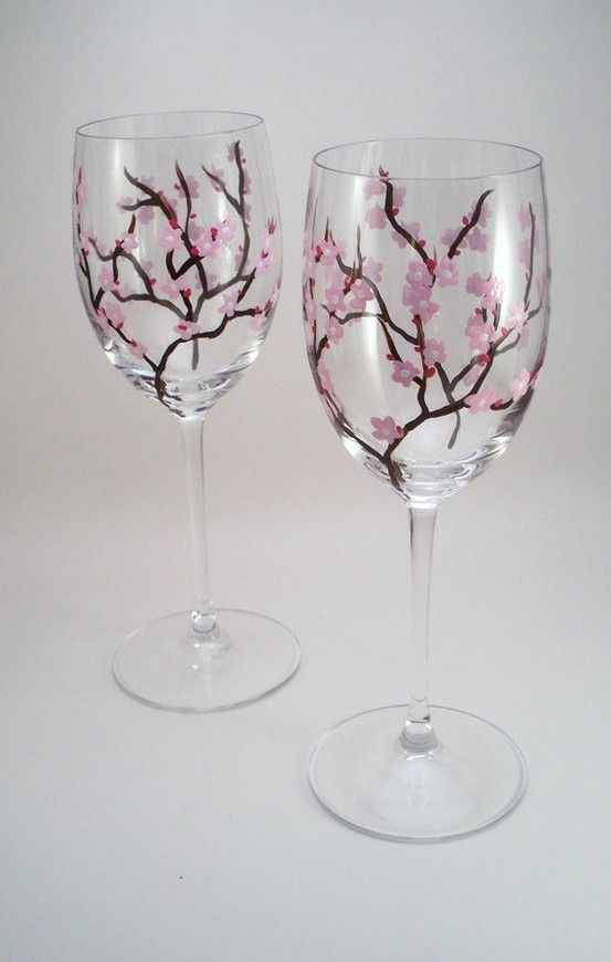 Wine Glass Design Ideas find this pin and more on crafty ideas simple how to make glitter wine glasses Painted Wine Glasses Ideas Light Pink Cherry Blossoms Hand Painted Wine Glasses By Raesmith