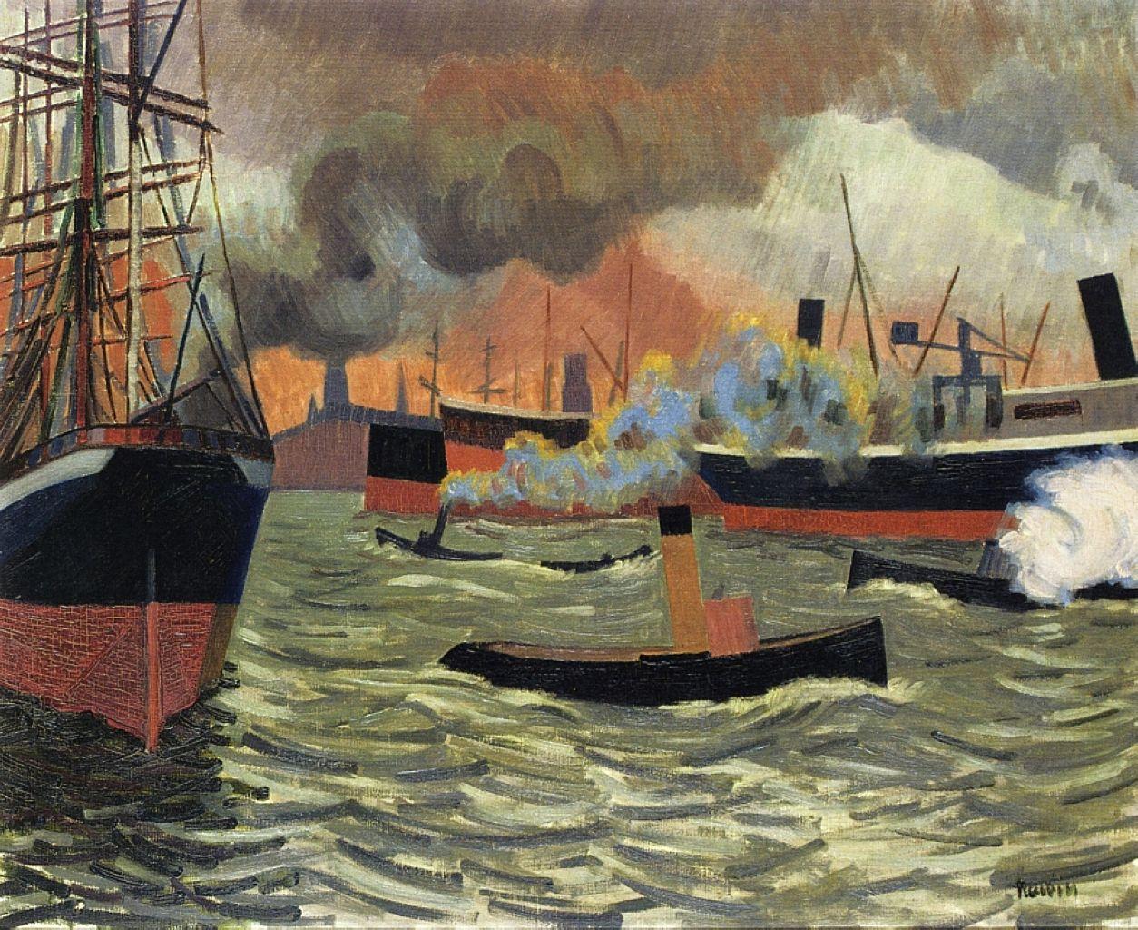 """Hamburg's port"", 1907,  Auguste Herbin"