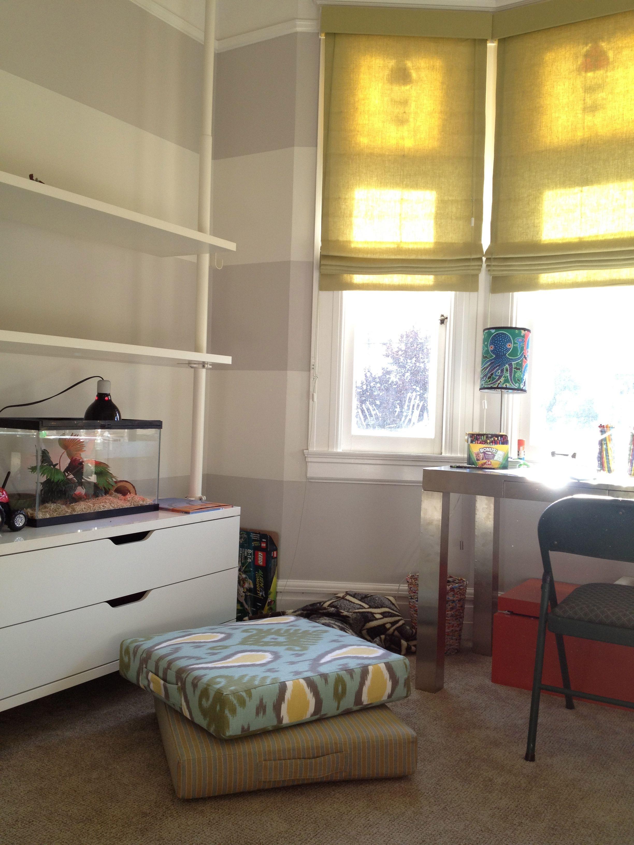 Bay window with roman shades window roman shade house