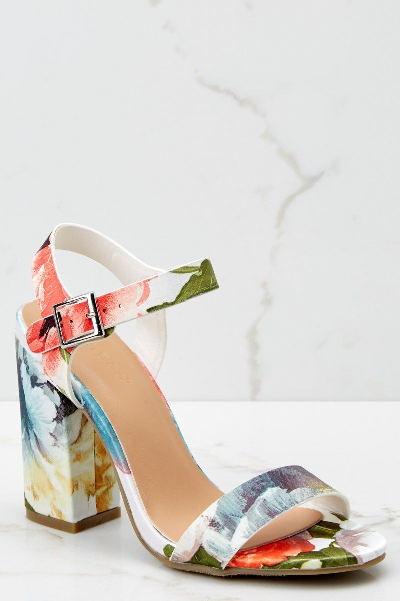 918c67dfaaee32 Legendary Moves Ivory Floral Print Ankle Strap Heels – Red Dress Boutique