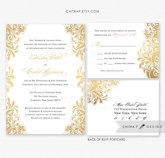 Amazing Black White Gold Wedding Invitations With Luxe White Envelopes U0026 RSVP  Postcards...or