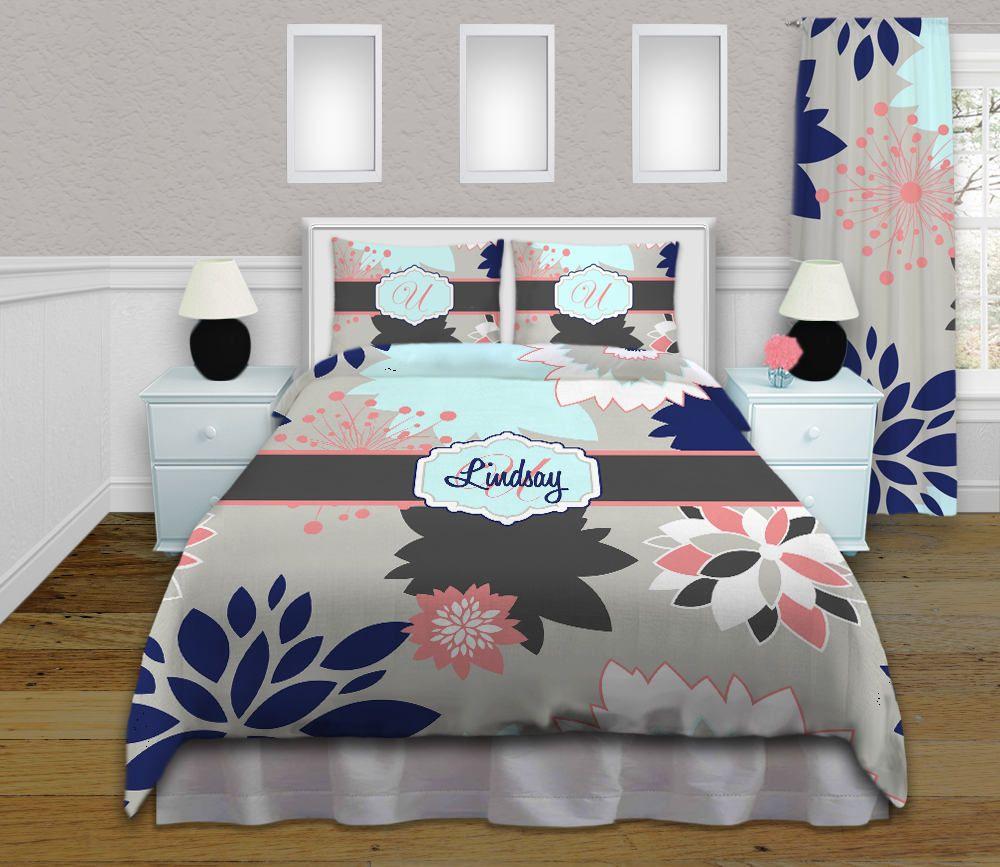 Floral Bedding Sets Navy Coral Grey Floral Bedding Kids Or