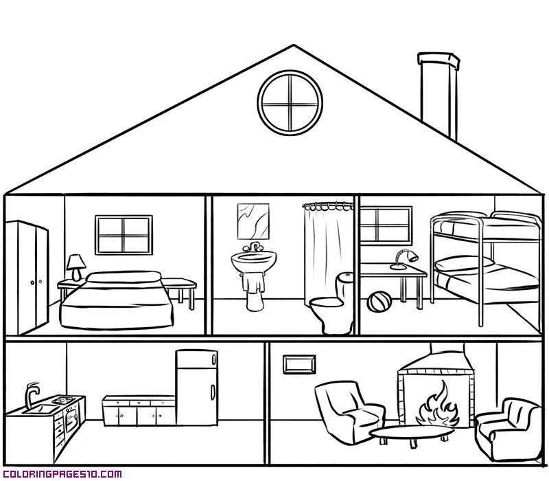 House with Rooms Coloring Pages  Xenia  Pinterest  Coloring