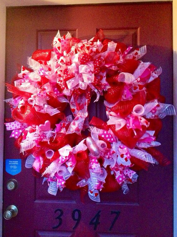 Xl Valentine S Day Deco Mesh Wreath By Thespottedbeagle On Etsy