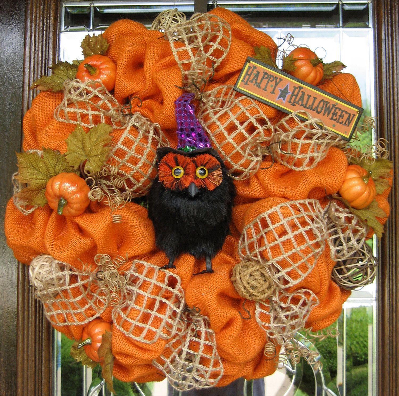 Natural Halloween Decorations: Natural ORANGE BURLAP HALLOWEEN Wreath. $125.00, Via Etsy