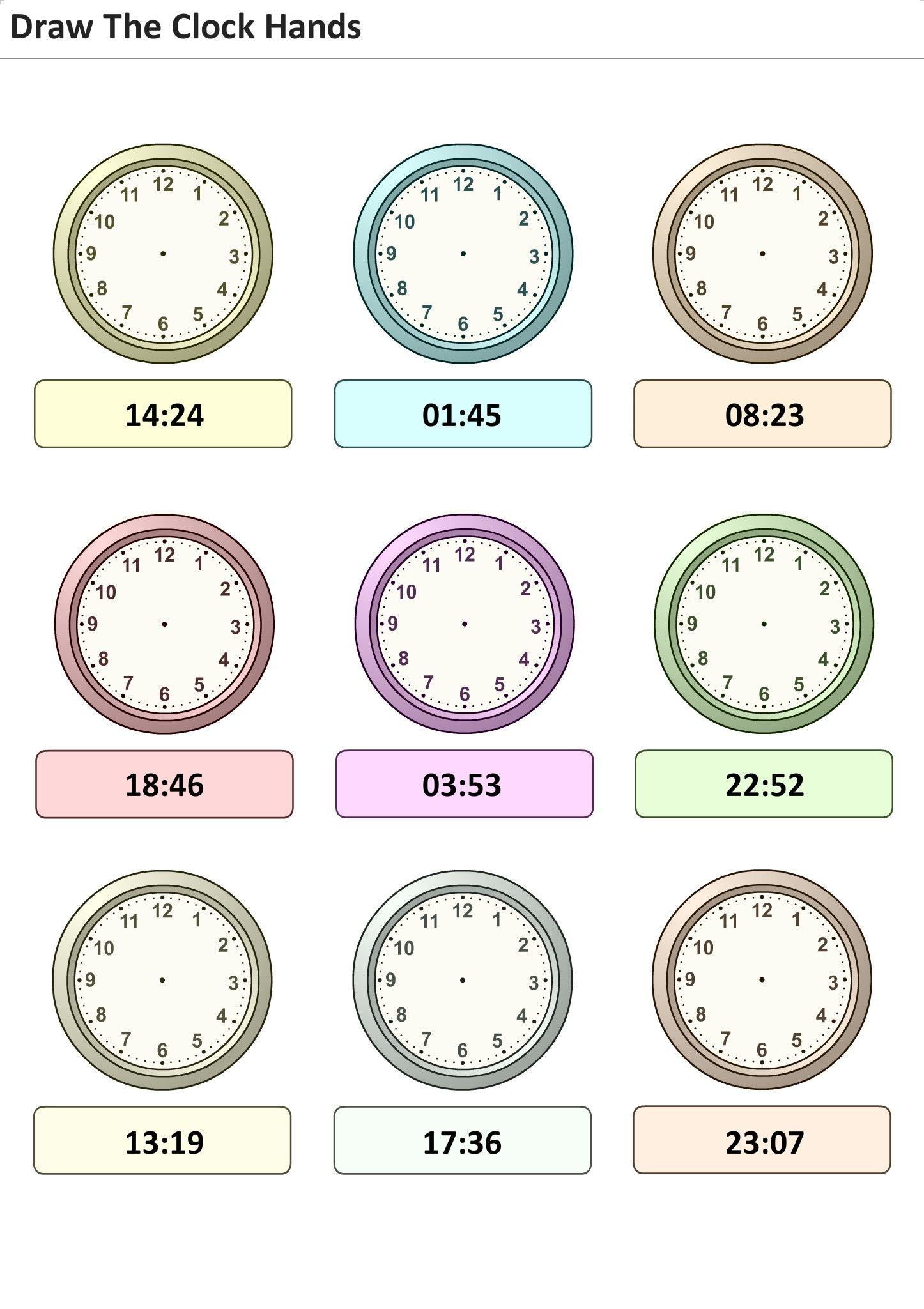 Arbeitsblatter Fur Kinder Zum Ausdrucken Setzen Sie Zeit Auf Der Uhr 13