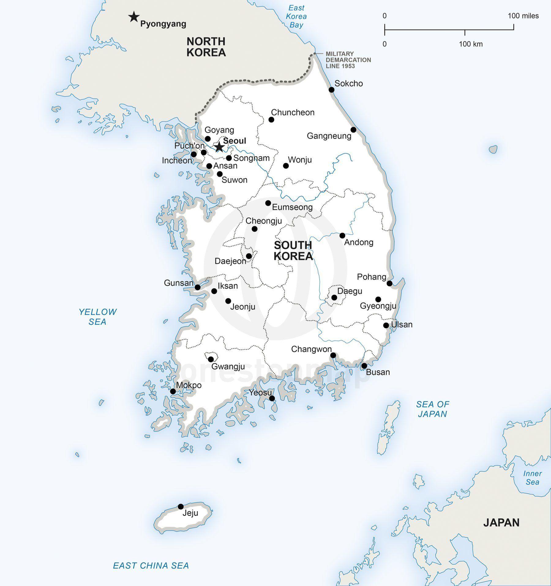 vector map of south korea political