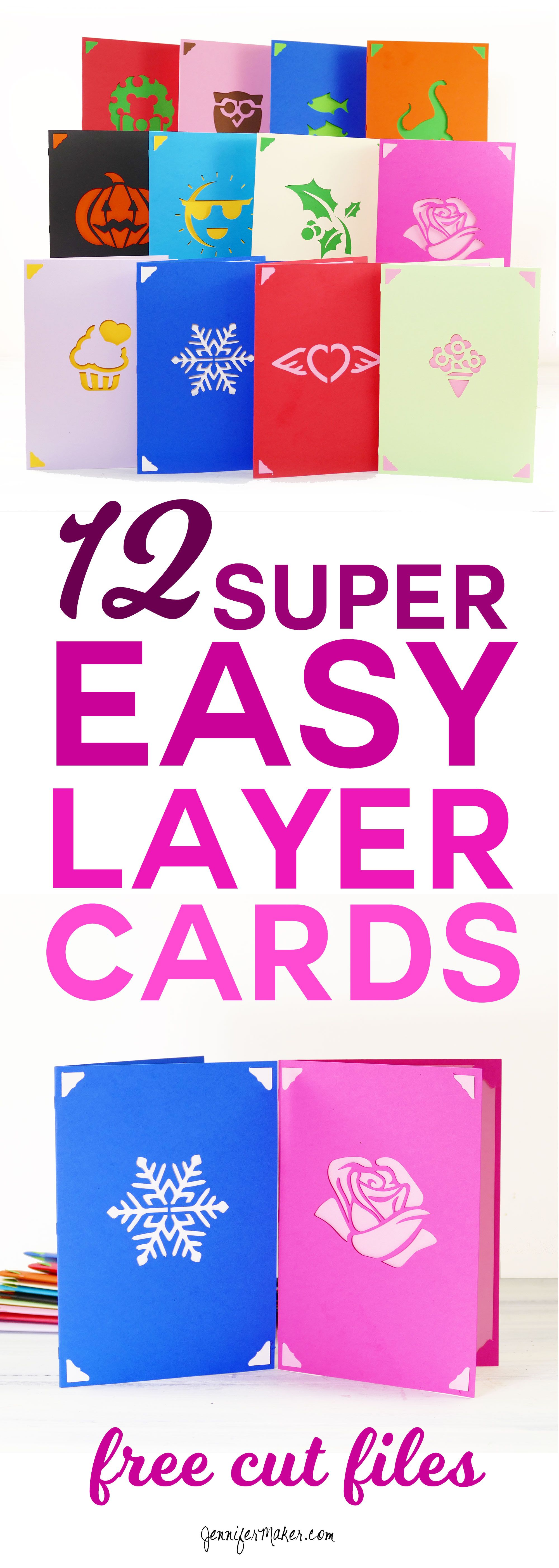 Diy Greeting Card Set Fast Easy Layers Jennifer Maker Cricut Birthday Cards Cricut Birthday Greeting Cards Diy