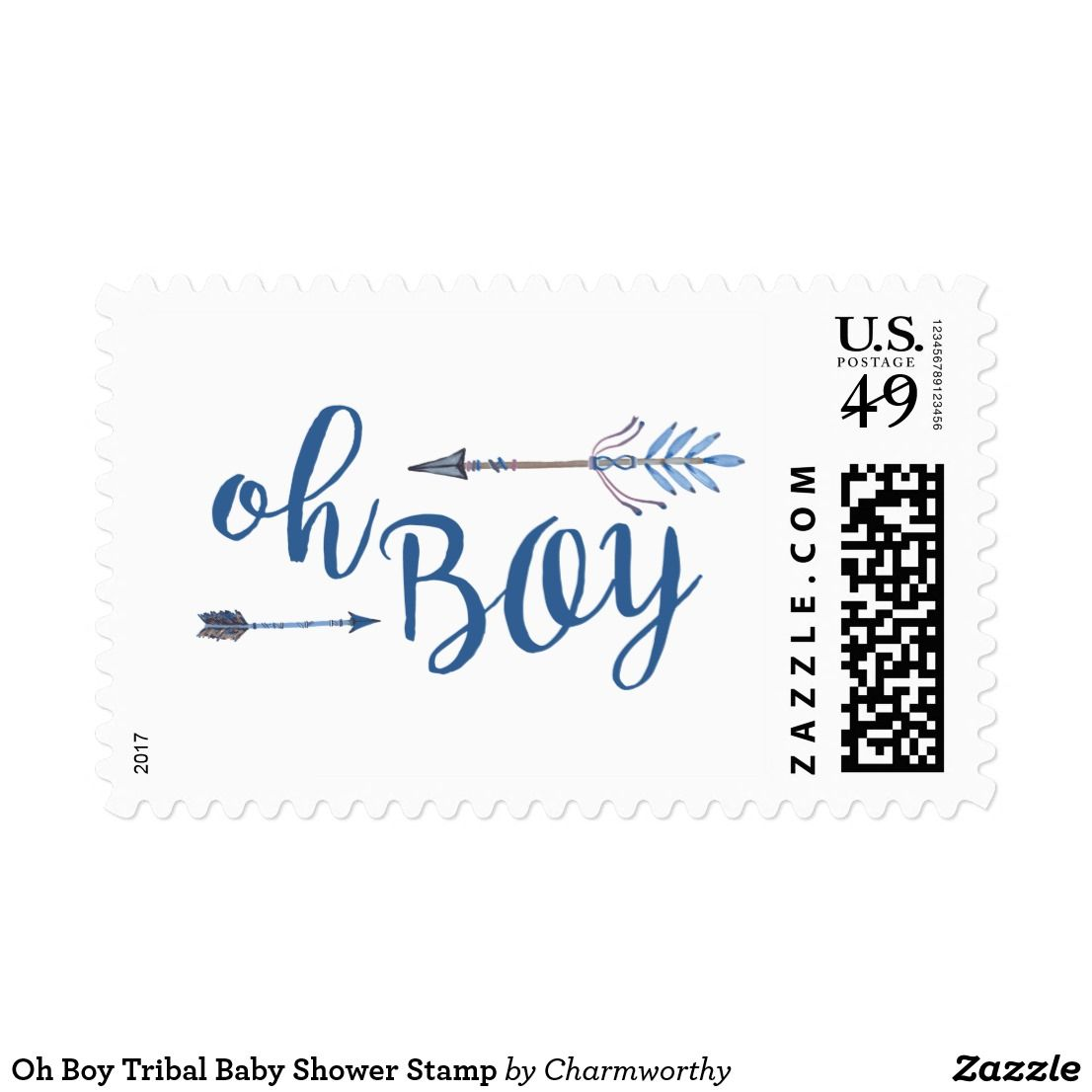 Oh Boy Tribal Baby Shower Stamp Coordinating Stamps To Match Your Party  Theme.