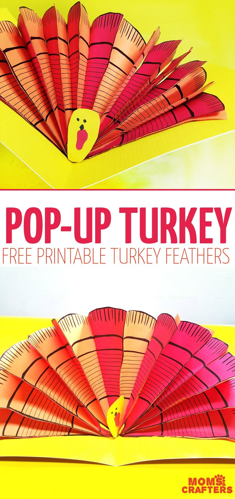 Make a pop up turkey thanksgiving turkey free printable and these free printable turkey feathers are so versatile and perfect for yoru thanksgiving crafts for adults jeuxipadfo Choice Image