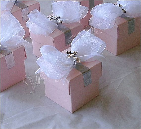 Girls Baptism Favor Boxes Pink With Silver Cross White Organza