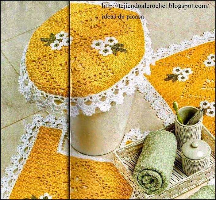 Crochet ganchillo patrones graficos tapetes para for Set de bano tejidos