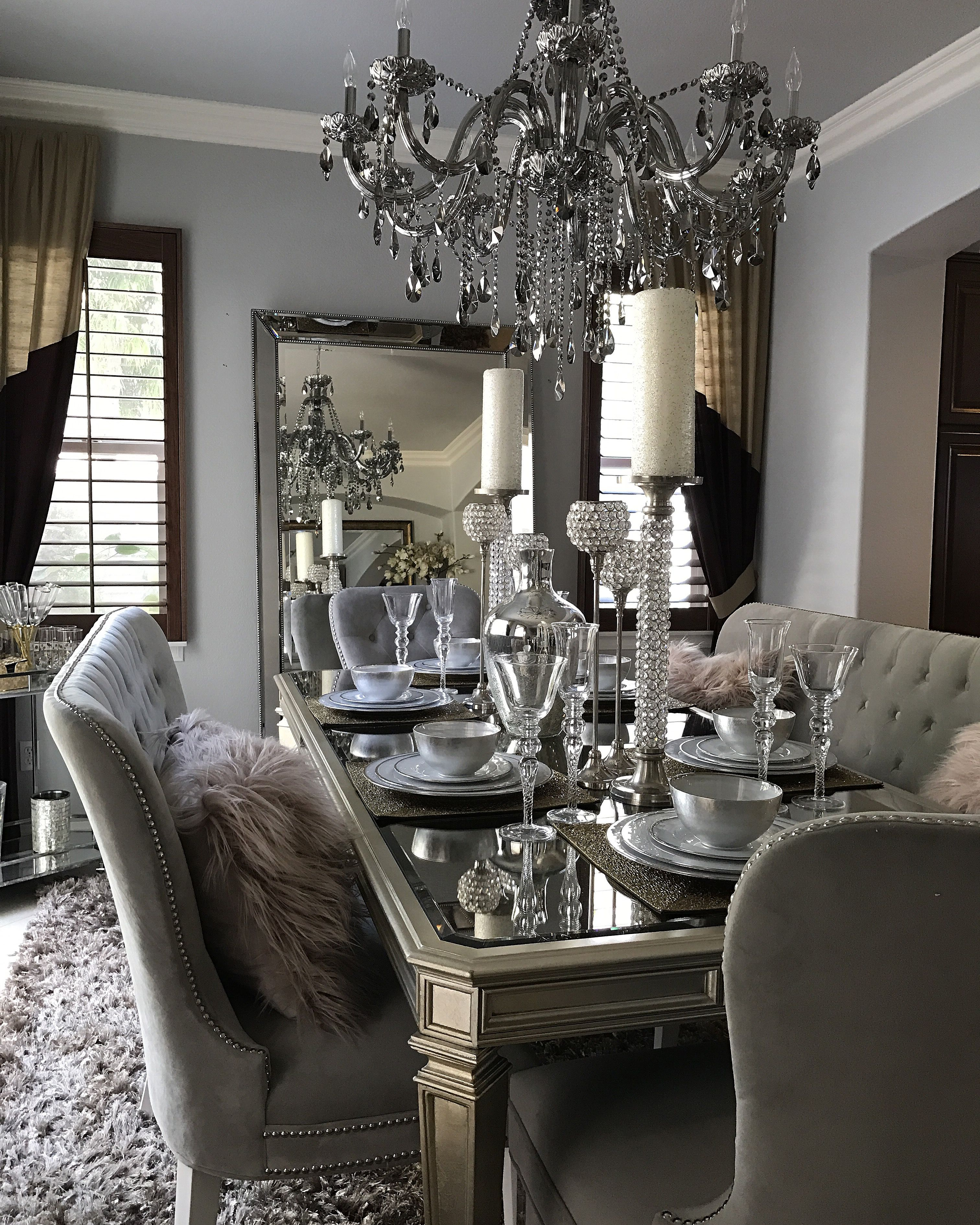 Rh Interior Designs Zgallerie Empire Dinning Table Charlotte Banquette S Side Chair Acrylic Omni Mirror Chandelier And Blush Pillows
