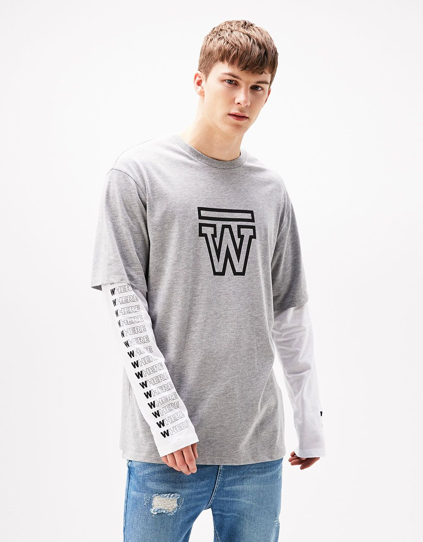 Camiseta doble manga W/SKULL - Camisetas - Bershka España