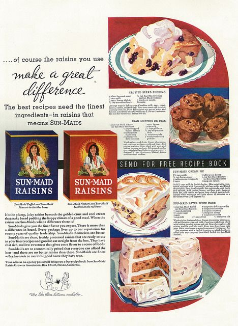 Illustrated 1934 food ad sun maid raisins with 4 dessert recipes 1934 sun maid raisins crusted bread pudding bran muffins de luxe sun maid cream pie sun maid layer spice cake forumfinder Choice Image