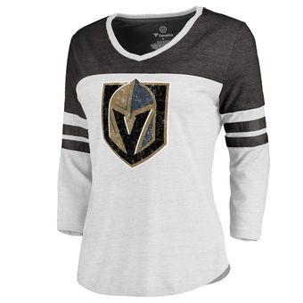 Women s Vegas Golden Knights Fanatics Branded White Distressed Team  Three-Quarter Sleeve Tri-Blend T-Shirt 8444718ef