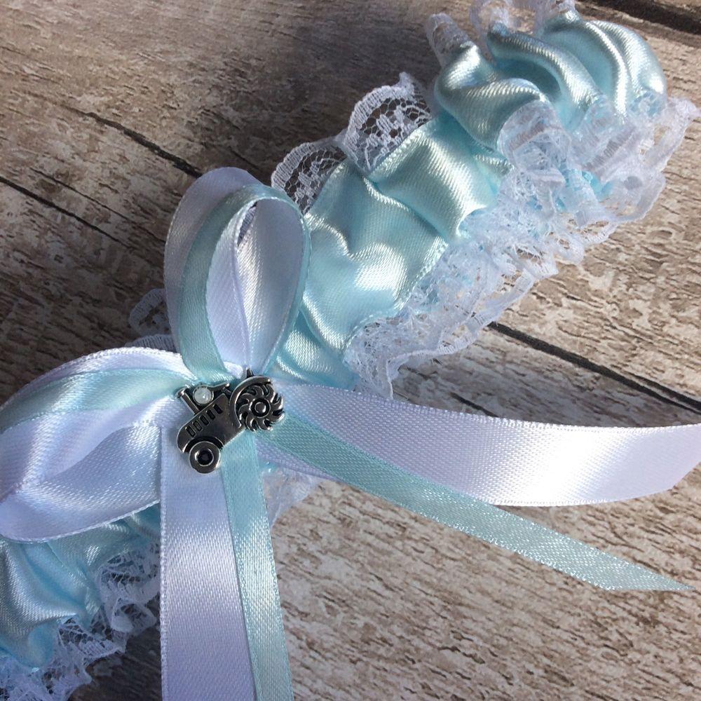 Blue Wedding Garter Uk: Tractor Charm Wedding Garter Something Blue For Good Luck
