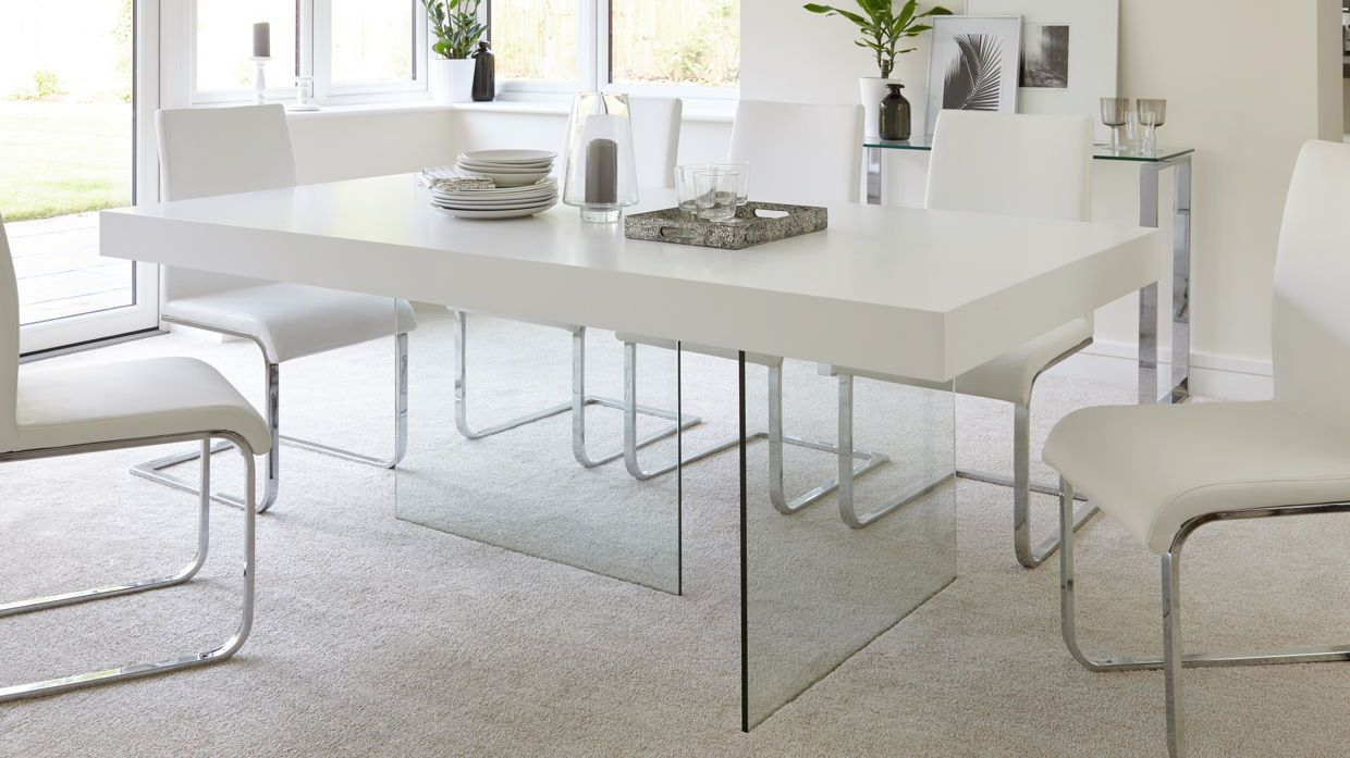 Aria White Oak And Glass 6 To 8 Seater Dining Table Glass Dining