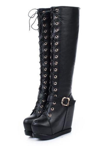 ef3906f7b Womens Buckle Strap Lace Up Platform Wedge Heel Knee High Boots Shoes 918-6  | eBay