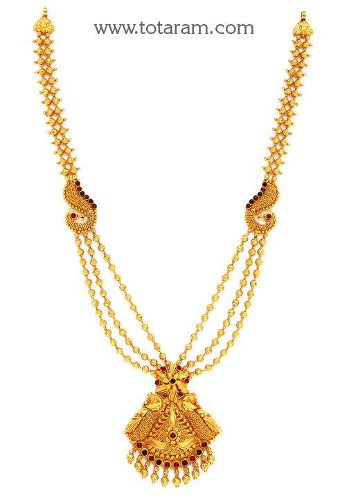 22K Gold 'Peacock' Long Necklace (Temple Jewellery) | 22