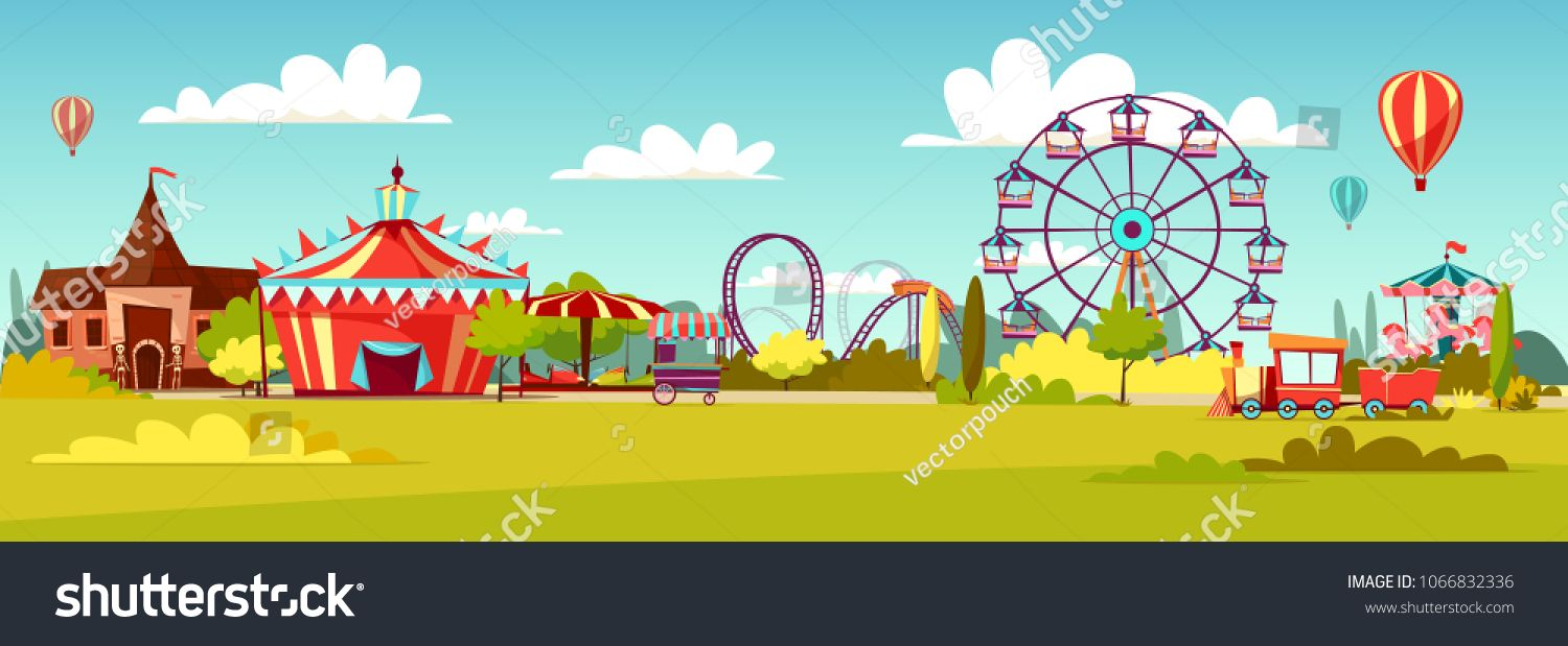 Amusement Park Vector Illustration Of Cartoon Attraction Rides And