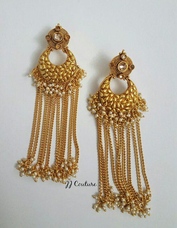 Designer Gold Polki Earrings Bollywood by JJCOUTUREJEWELS on Etsy ...
