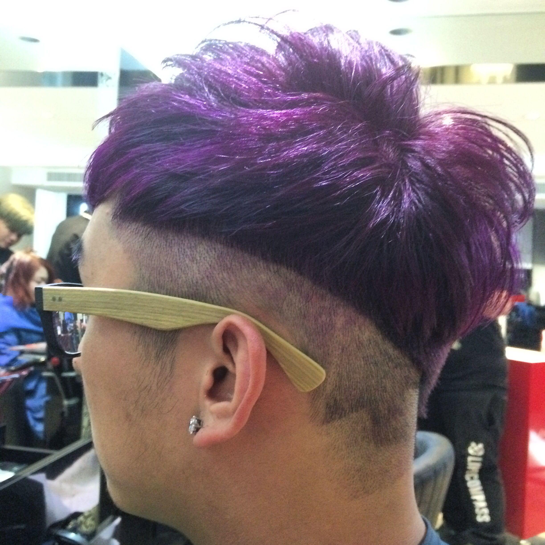 Arrow hair style purple hair color short hair men haircut