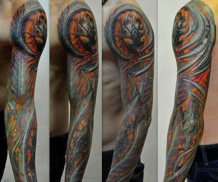Biomechanik Tattoo Ganzer Arm Feuer Metall Teile Tattoos