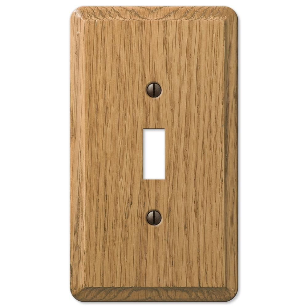 Amerelle Contemporary 1 Toggle Wall Plate Light Oak Wood