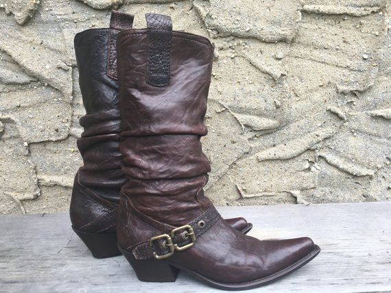 Ladies 8 Italian Cowboy Boots Vintage Pointy Toe Buckle Slouch Mixed Brown Leather Western Sexy Tough Biker Chick womens