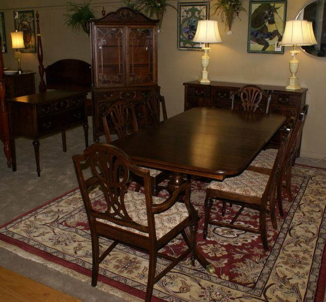 Complete 1930s Walnut Dining Room Set Antique Dining Room