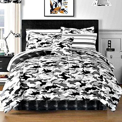 Black And White Bedding Teen Boys Camo Bedding And Bedding Sets - Black and grey camouflage comforter set