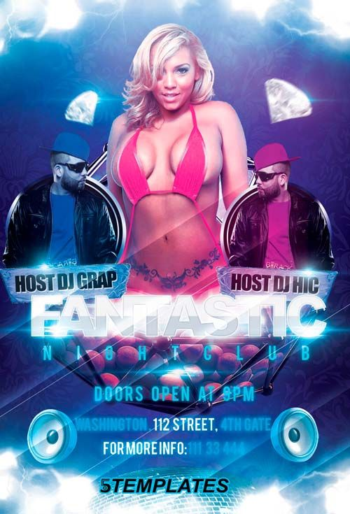 Free Fantastic Night Party Flyer Psd Template - Http