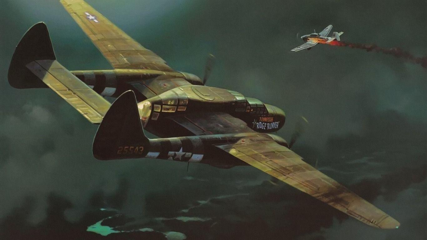 Обои p-61, ww2, black widow, painting, истребитель, P-61 black widow, aircraft art. Авиация foto 7