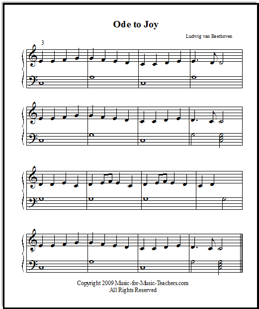 Ode To Joy For Beginner Piano Easy Piano Lessons For